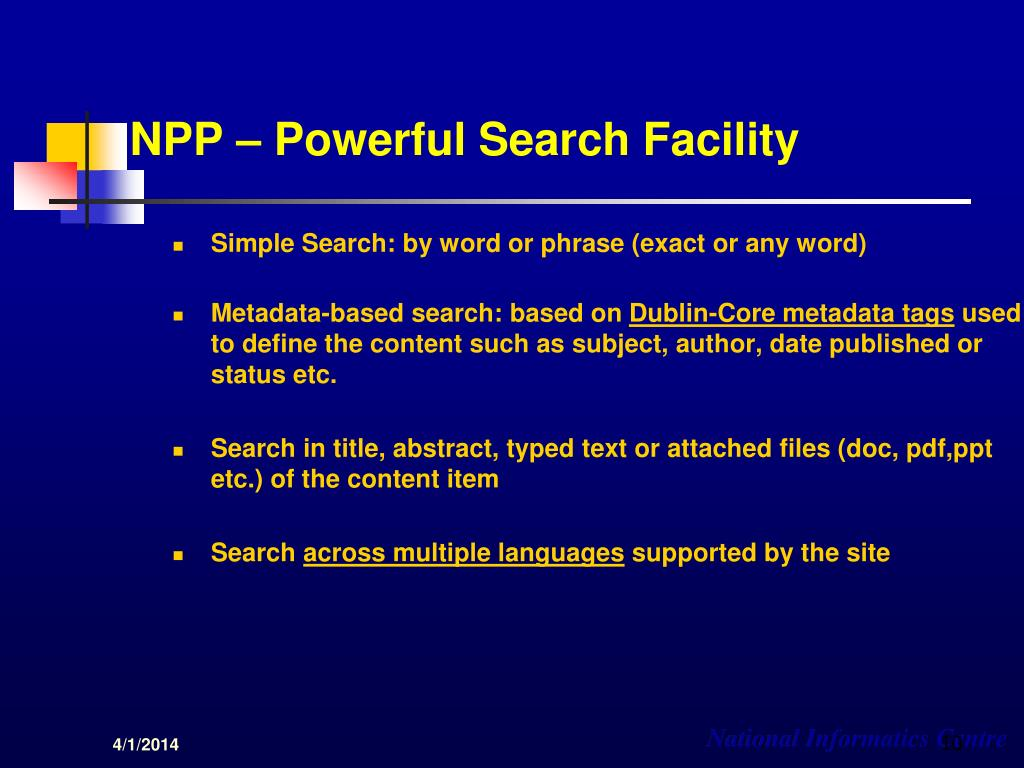 NPP – Powerful Search Facility