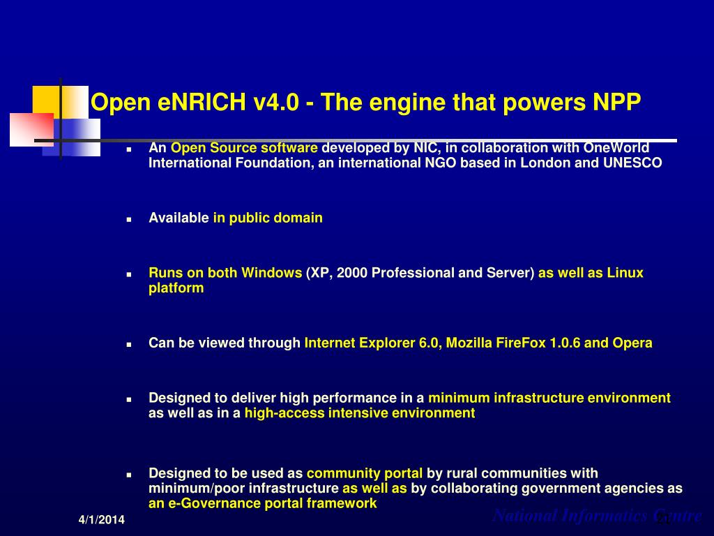 Open eNRICH v4.0 - The engine that powers NPP