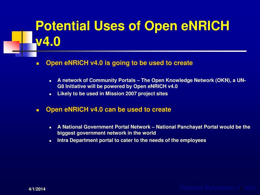Potential Uses of Open eNRICH v4.0