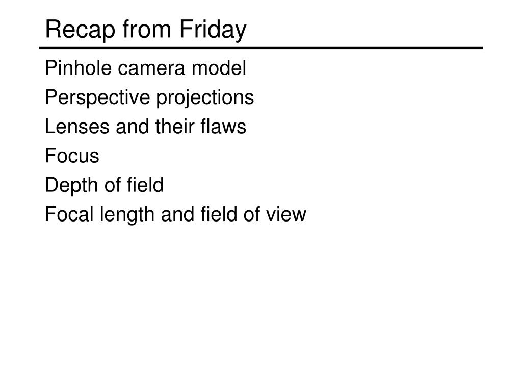 recap from friday l.