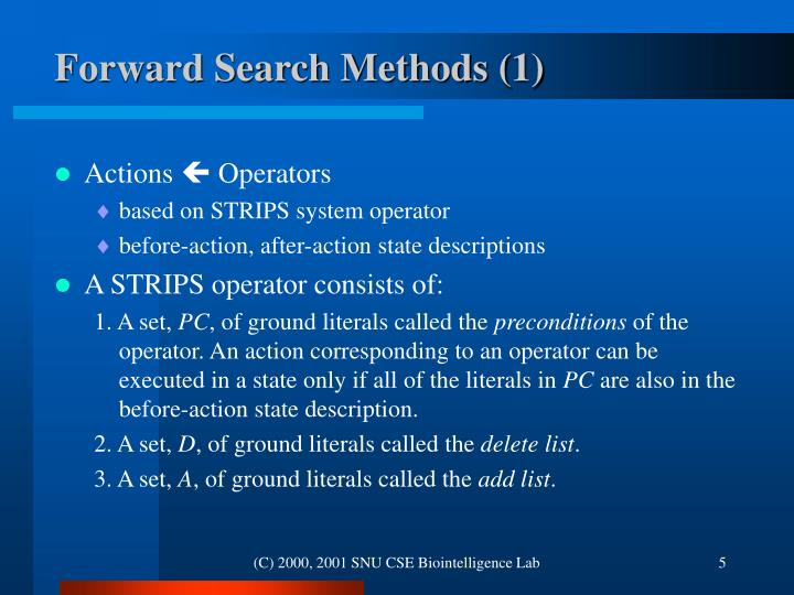 Forward Search Methods (1)