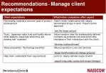 recommendations manage client expectations