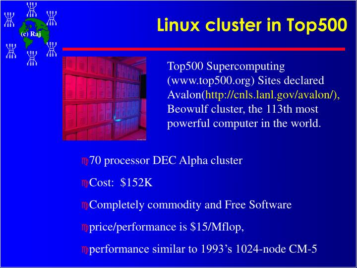 Linux cluster in Top500