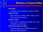 windows of opportunities