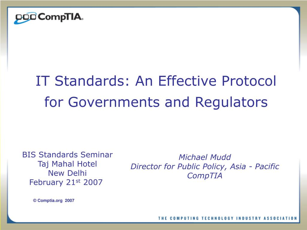 it standards an effective protocol for governments and regulators l.