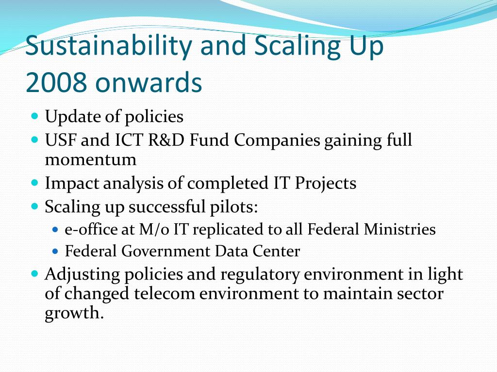 Sustainability and Scaling Up