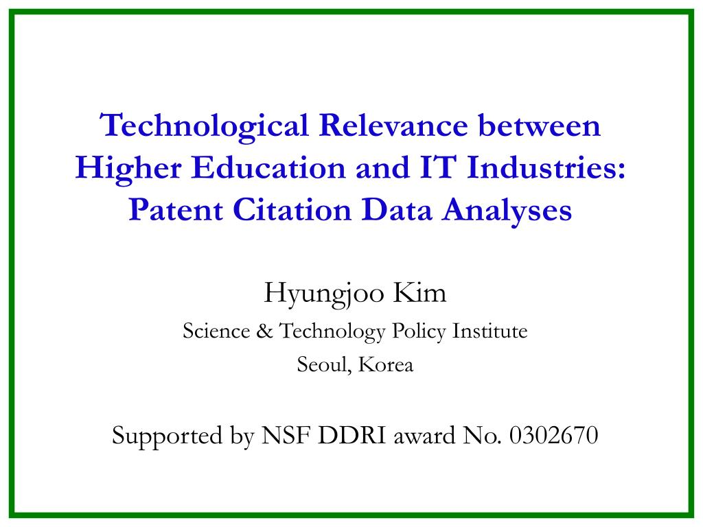 technological relevance between higher education and it industries patent citation data analyses l.