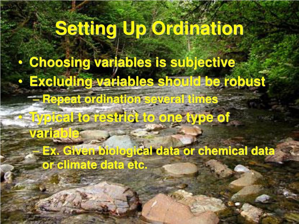 Setting Up Ordination