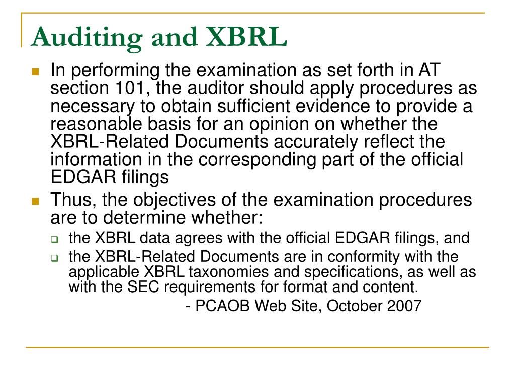 Auditing and XBRL
