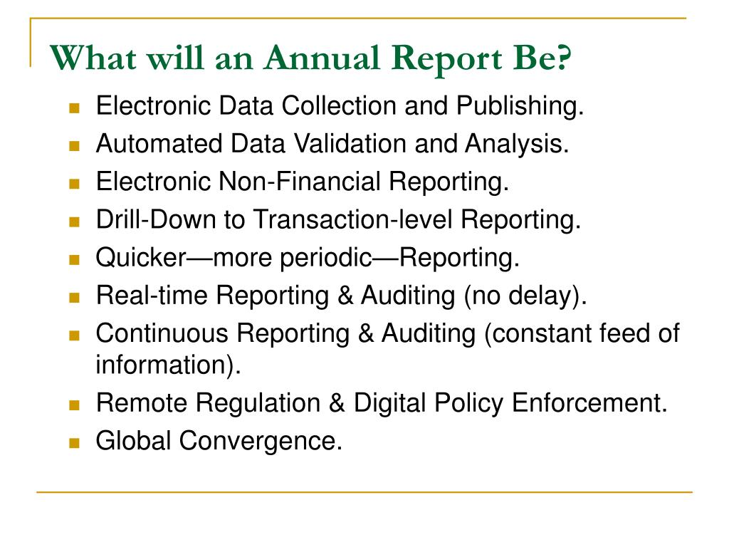 What will an Annual Report Be?