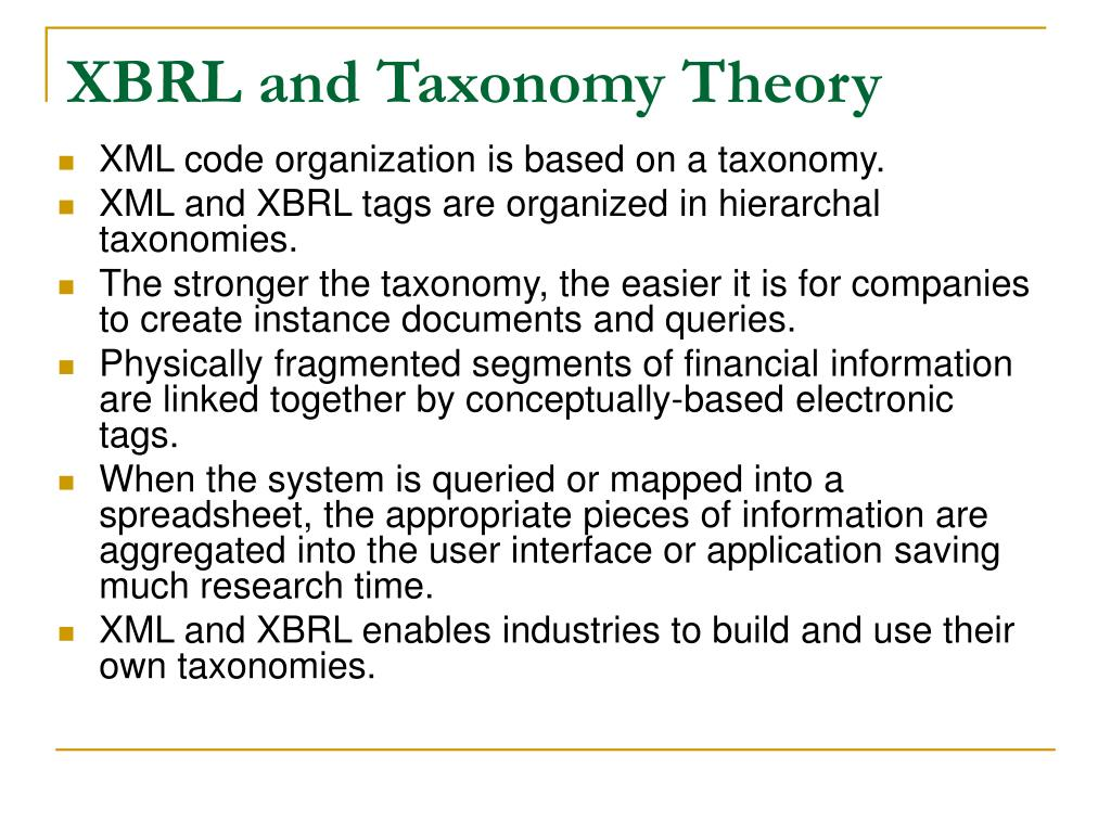 XBRL and Taxonomy Theory