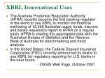 xbrl international uses