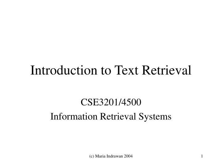 introduction to text retrieval n.