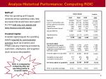 analyze historical performance computing roic