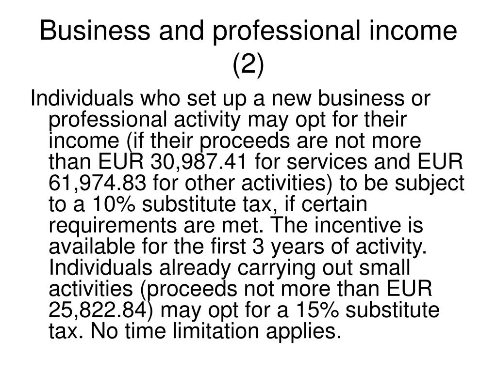 Business and professional income (2)