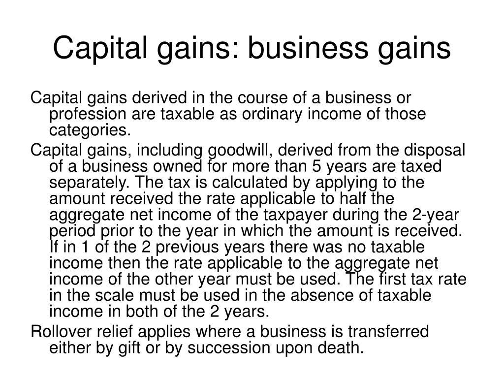 Capital gains: business gains