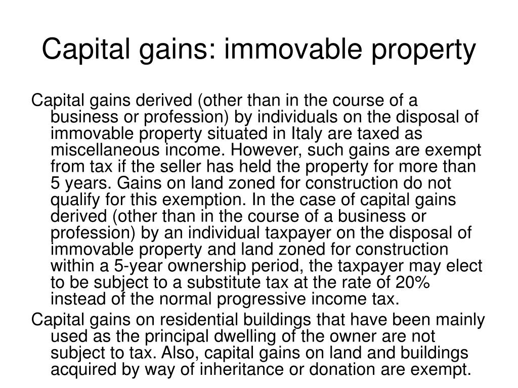 Capital gains: immovable property