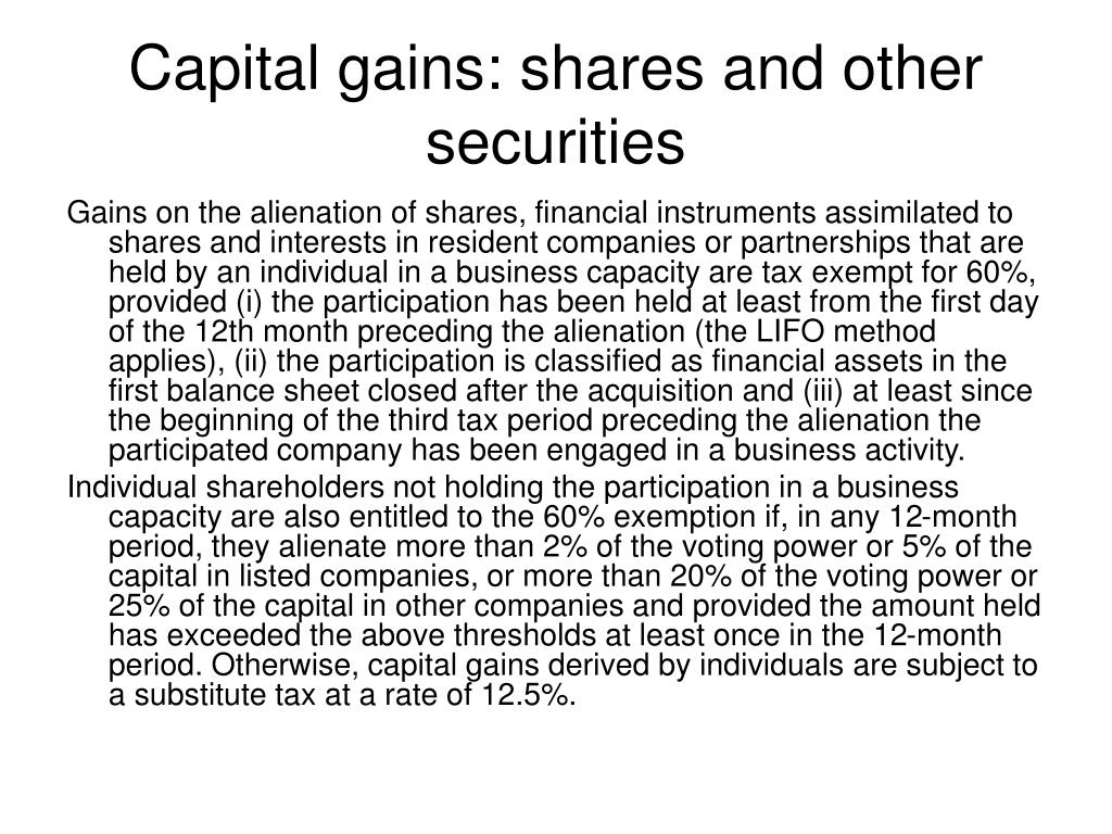Capital gains: shares and other securities