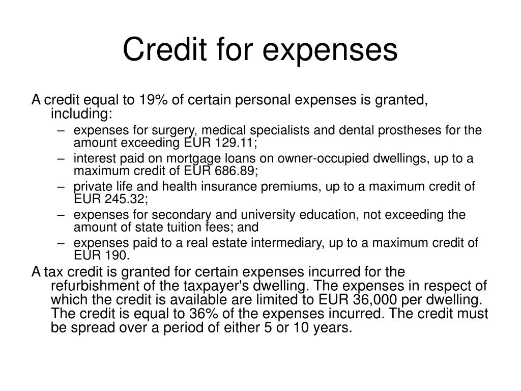 Credit for expenses