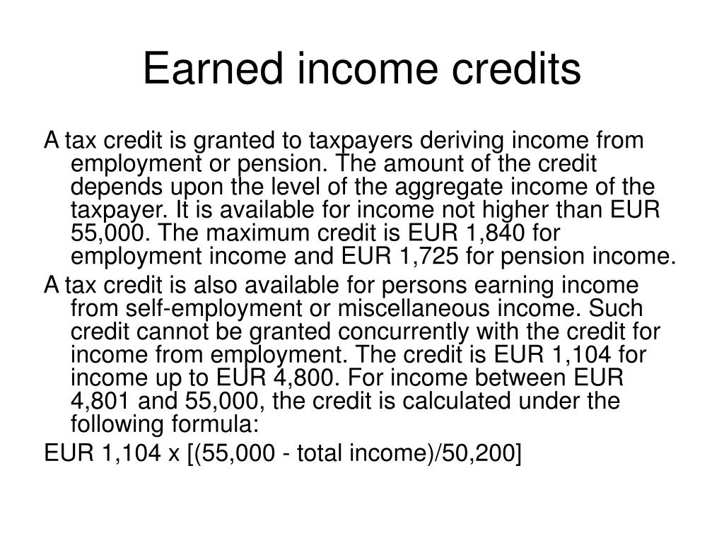 Earned income credits