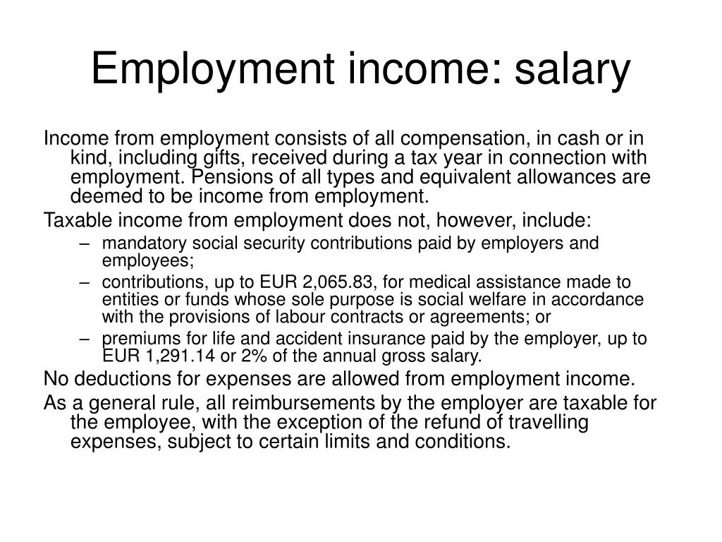 Employment income: salary