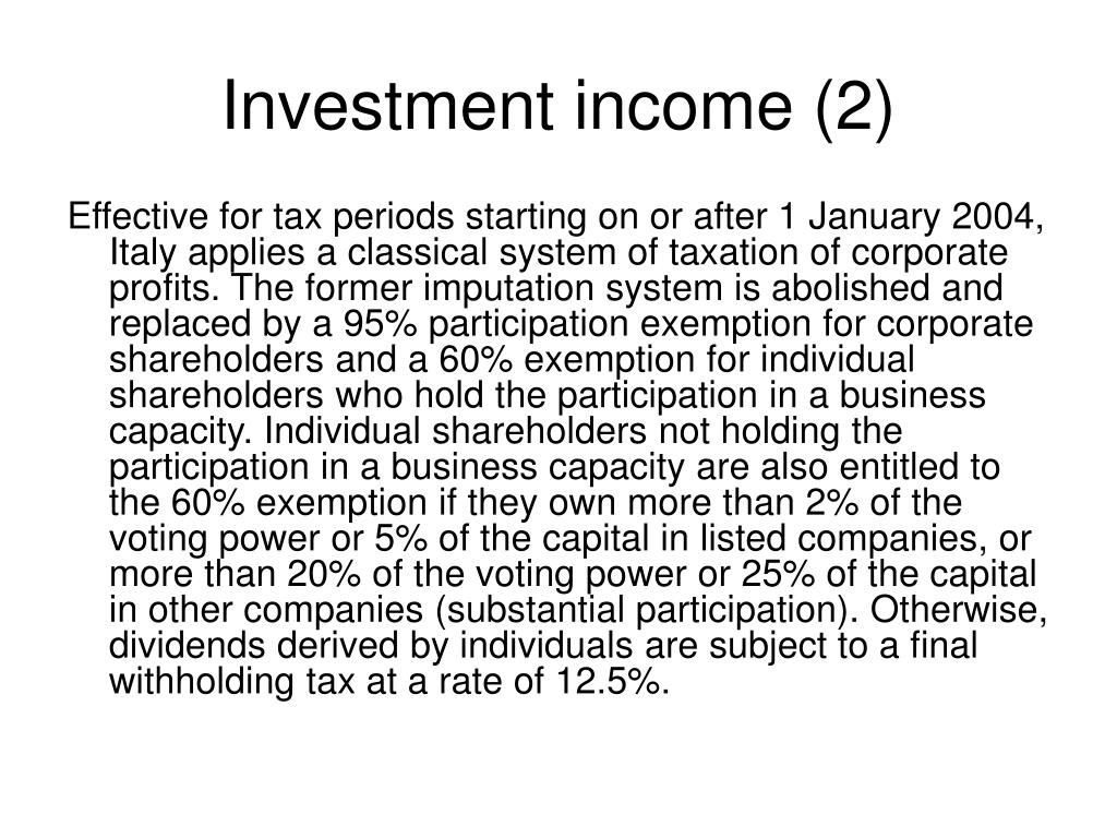 Investment income (2)