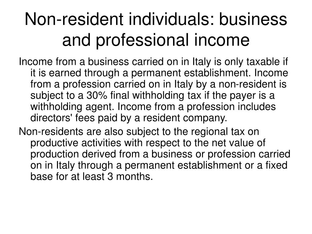 Non-resident individuals: business and professional income