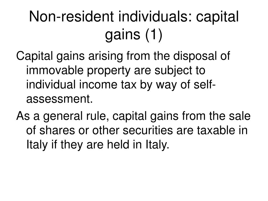 Non-resident individuals: capital gains (1)