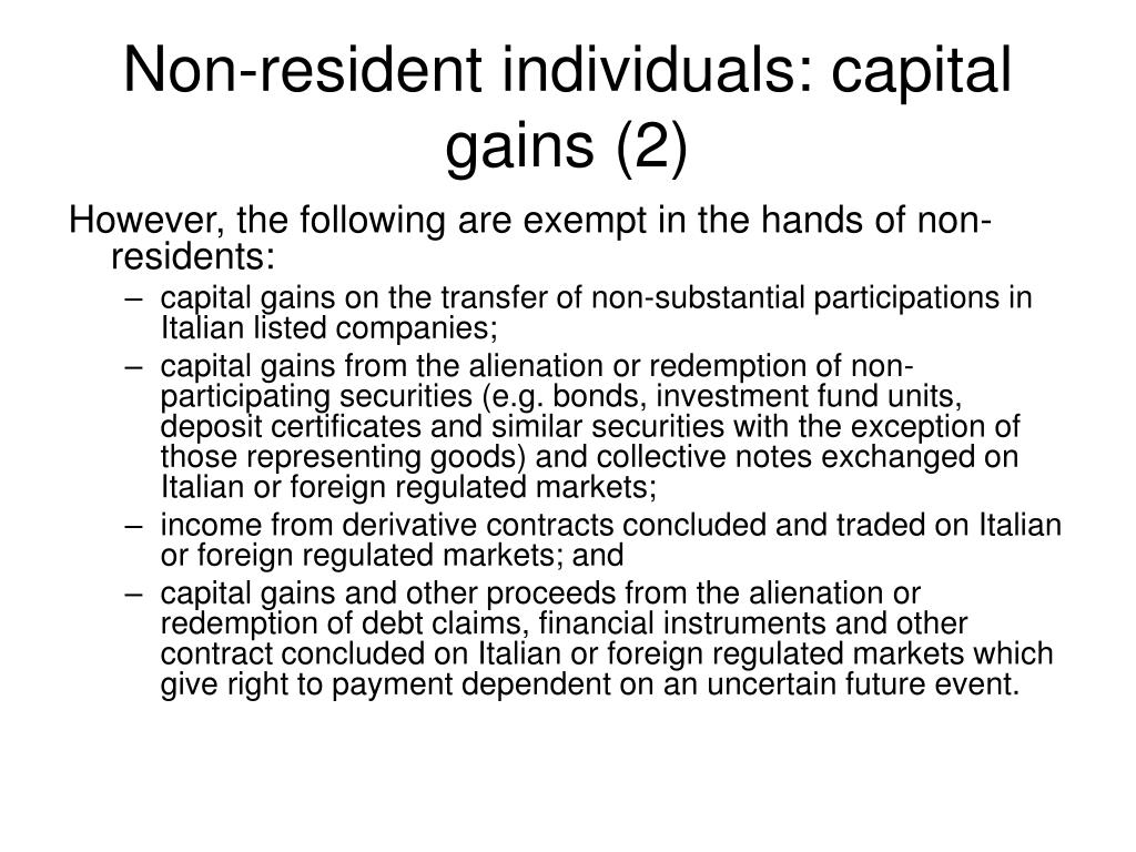 Non-resident individuals: capital gains (2)