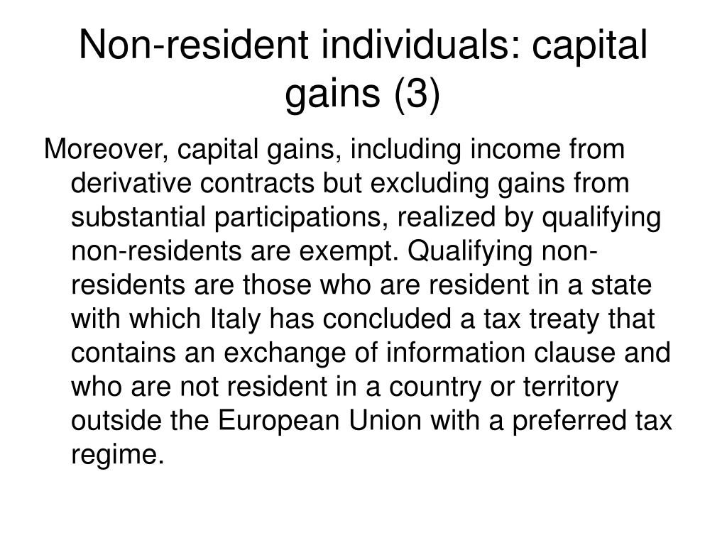 Non-resident individuals: capital gains (3)
