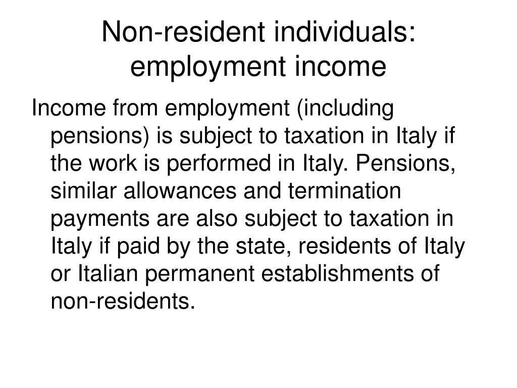Non-resident individuals: employment income