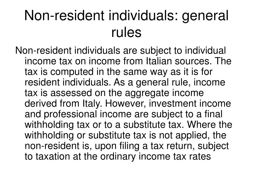 Non-resident individuals: general rules