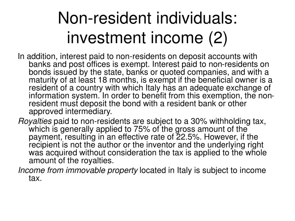 Non-resident individuals: investment income (2)