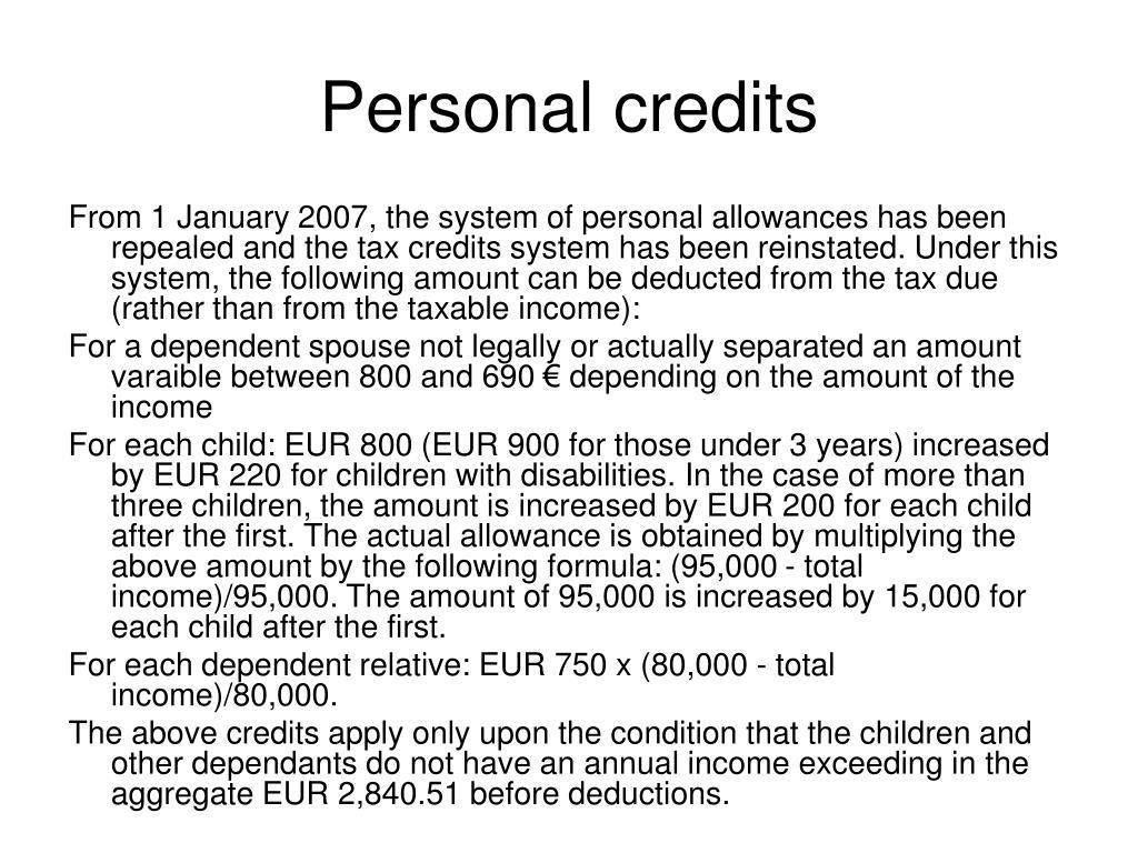 Personal credits