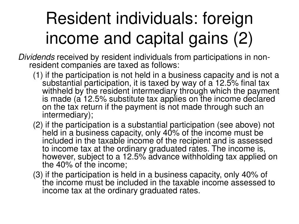 Resident individuals: foreign income and capital gains (2)