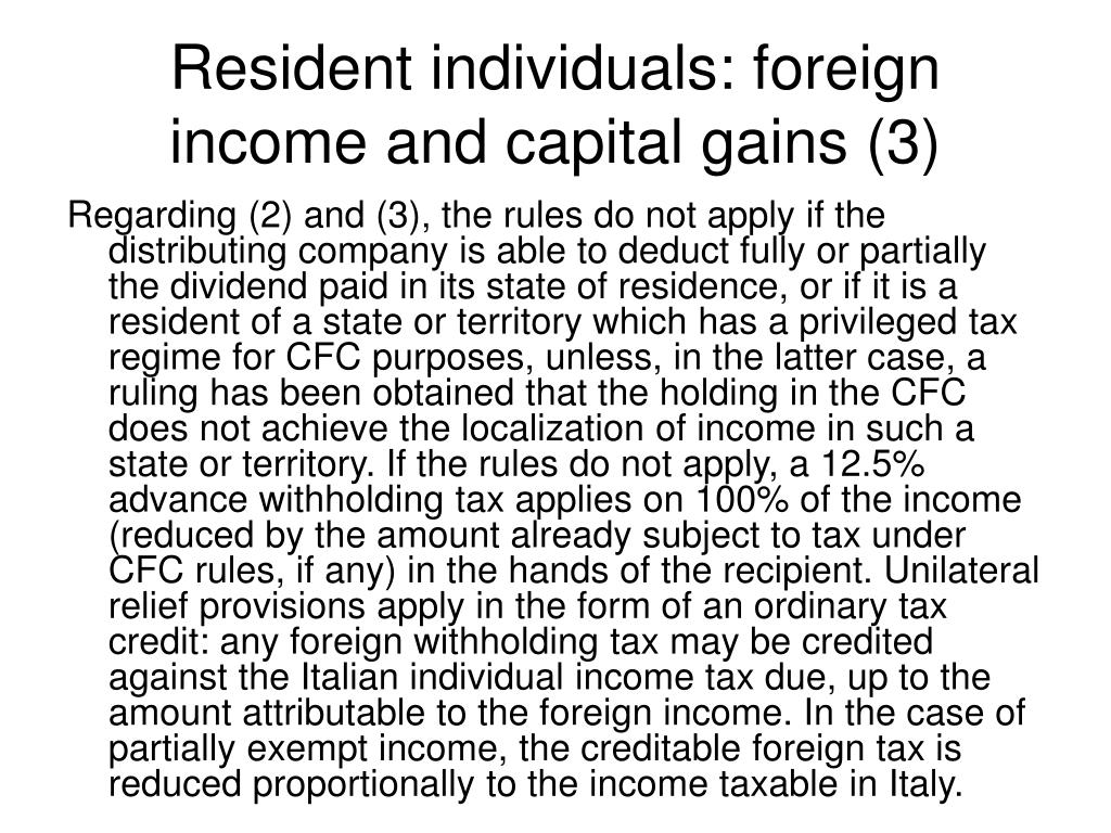 Resident individuals: foreign income and capital gains (3)