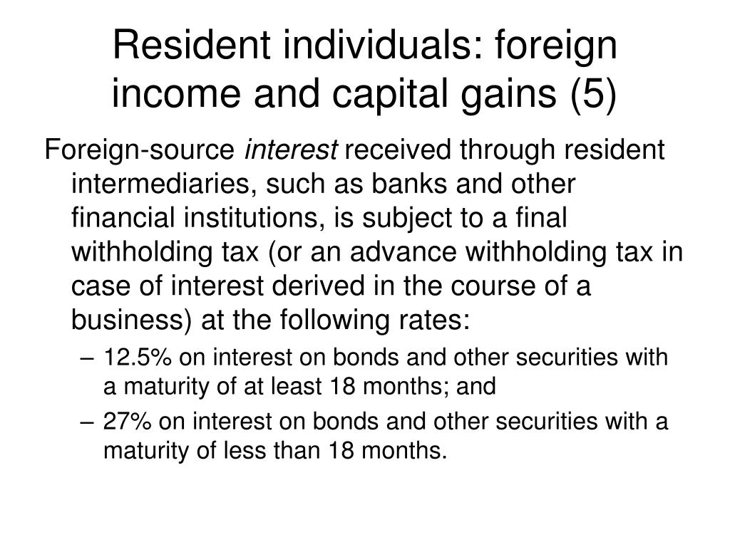 Resident individuals: foreign income and capital gains (5)