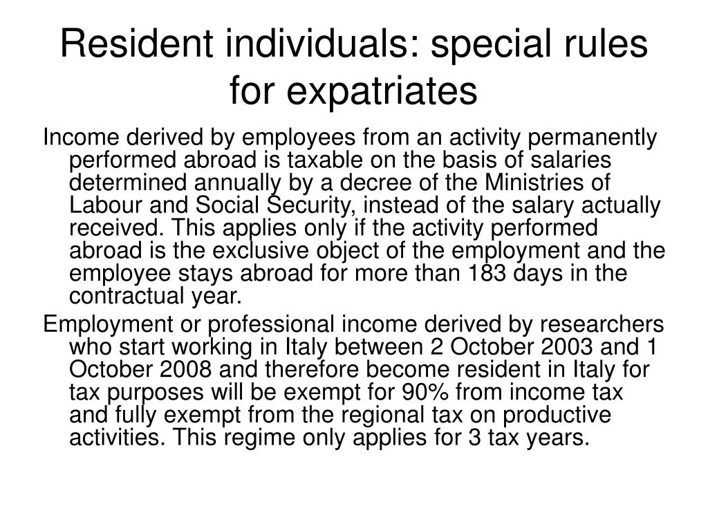 Resident individuals: special rules for expatriates