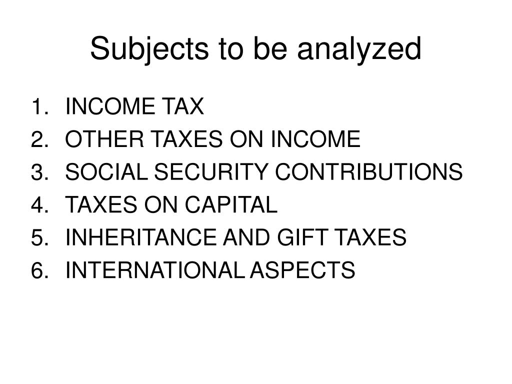 Subjects to be analyzed
