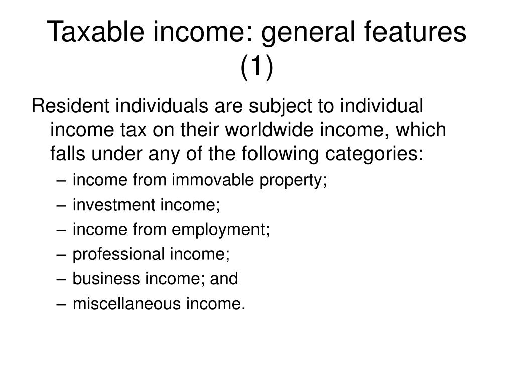 Taxable income: general features (1)