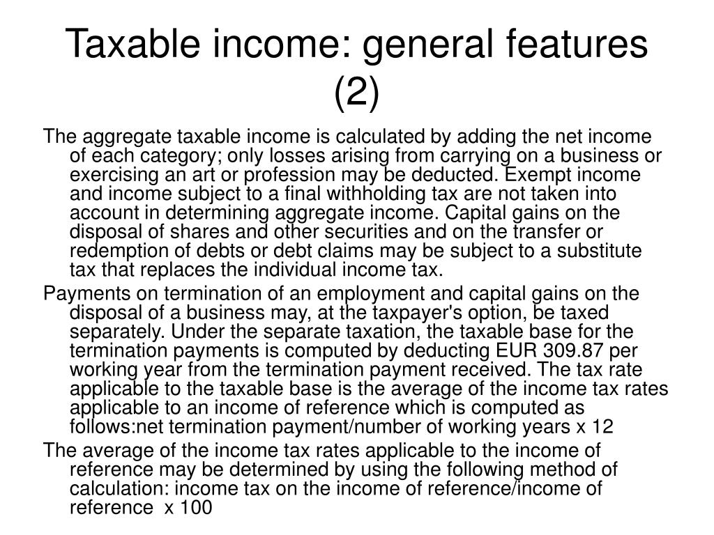 Taxable income: general features (2)