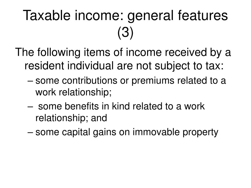 Taxable income: general features (3)