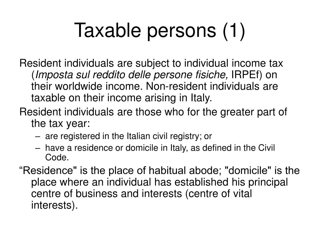 Taxable persons (1)