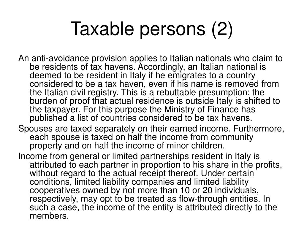 Taxable persons (2)