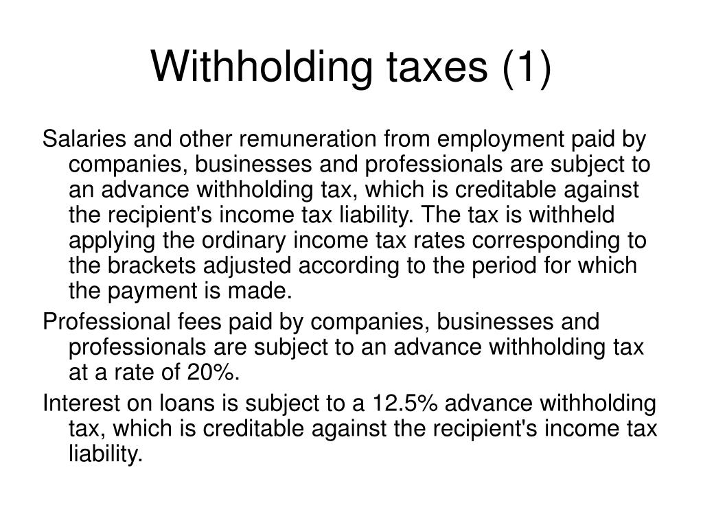 Withholding taxes (1)