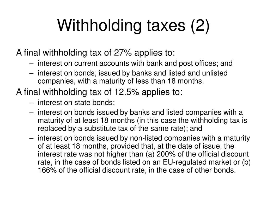 Withholding taxes (2)