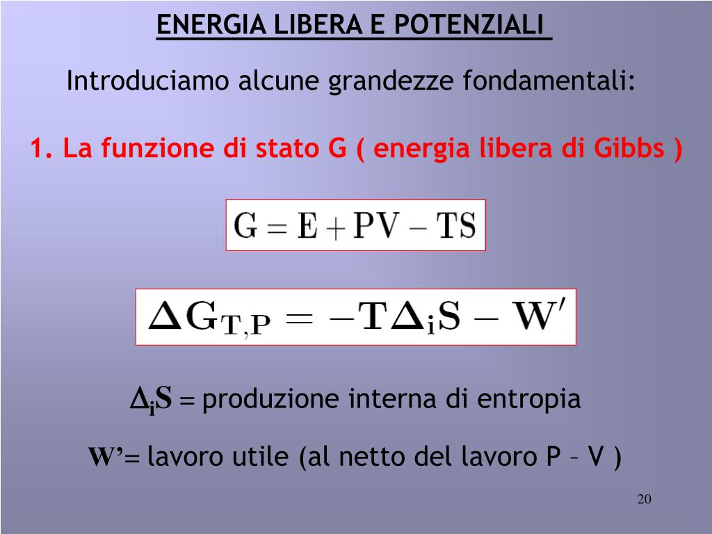 ENERGIA LIBERA E POTENZIALI