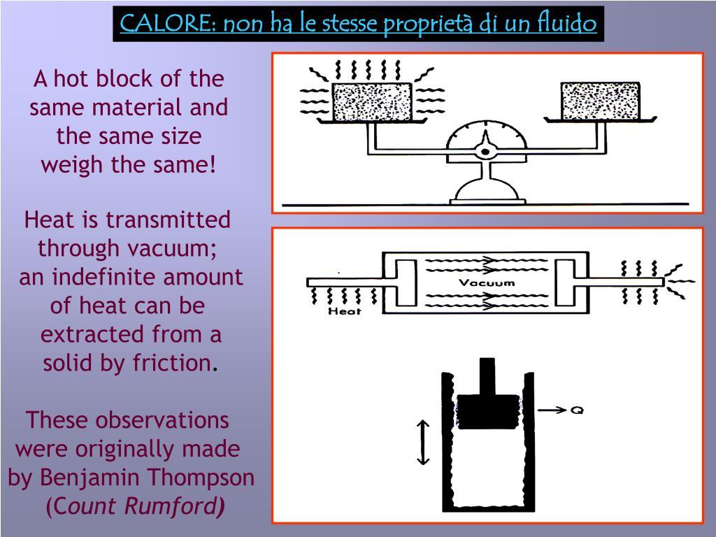 CALORE: non ha le stesse proprietà di un fluido