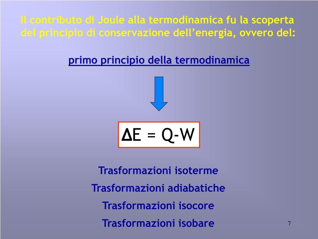 Il contributo di Joule alla termodinamica fu la scoperta