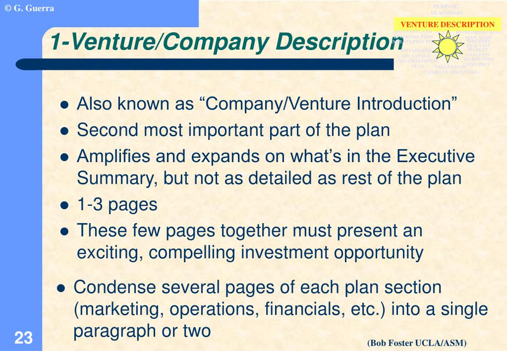 """Also known as """"Company/Venture Introduction"""""""